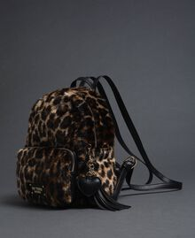 Rucksack aus Pelzimitat mit Animal-Print Animal Frau 192MA7032-01