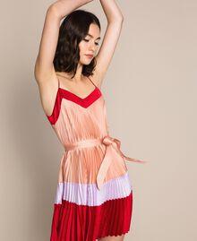 "Pleated satin slip dress Multicolour ""Lava"" Red / ""Ballerina"" Purple / Nude Pink Woman 201TP2311-03"