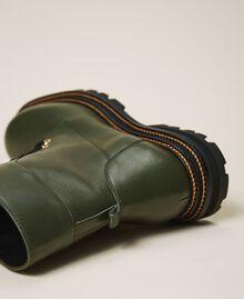 Кожаные ботинки-амфибии на шнуровке Черный женщина 202TCP182-04