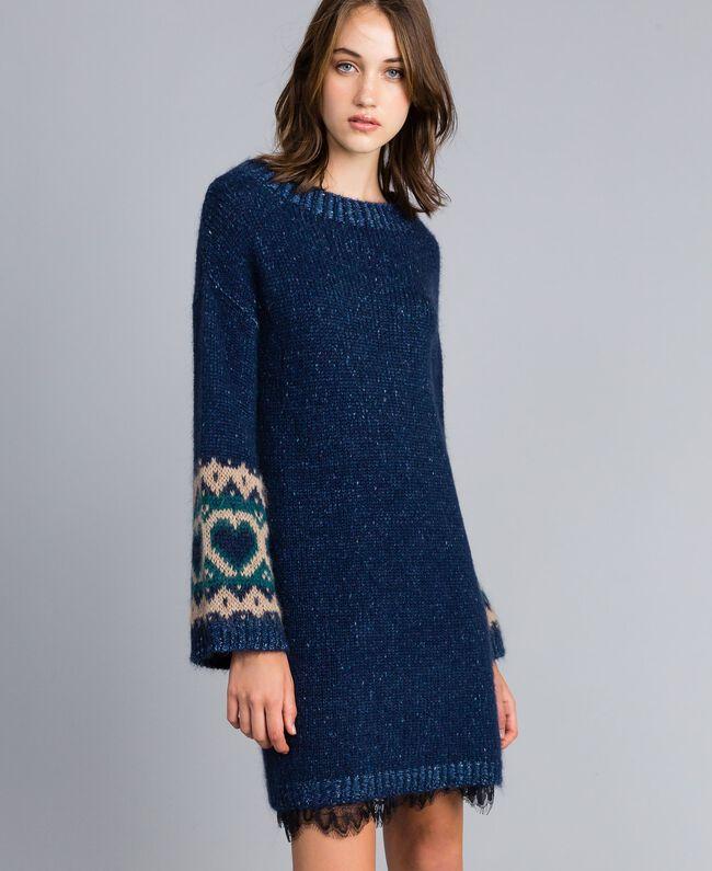 Kleid mit Jacquardherzen Blue Night Frau YA8313-03