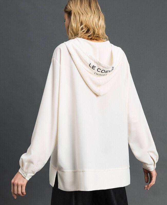 Blusa in crêpe de Chine con cappuccio Bianco Neve Donna 192ST2080-04