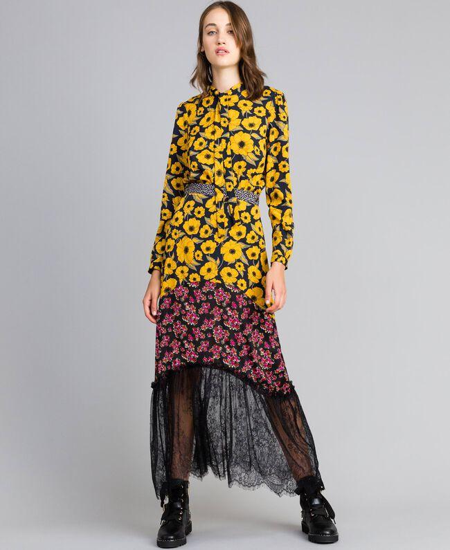 """Gonna in crêpe de Chine stampato Stampa Wind Flower Giallo """"Golden Yellow"""" / Bouquet Nero Donna YA82JC-01"""