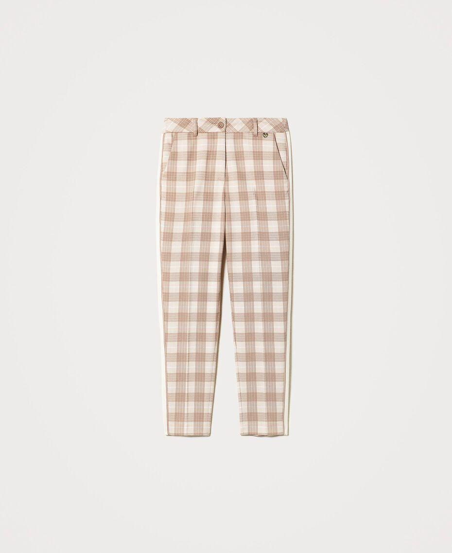 Pantalon cigarette en tissu à carreaux Prince-de-Galles Carreaux Blanc Crème / Beige «Dune» Femme 202MP228B-0S