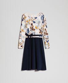 Kleid aus Gestrick und Crêpe de Chine mit Gürtel Herbstblumenprint Sahne Frau 192ST3225-0S
