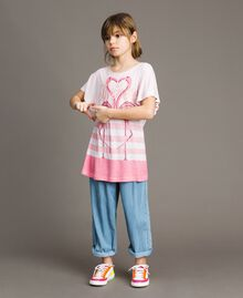 "Gestreiftes Maxi-T-Shirt aus Jerseystoff mit Strass ""Crystal Pink"" Melange Kind 191GJ2721-02"