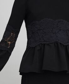 Blouse with macramé lace and flounce Black Woman 192TT2213-04