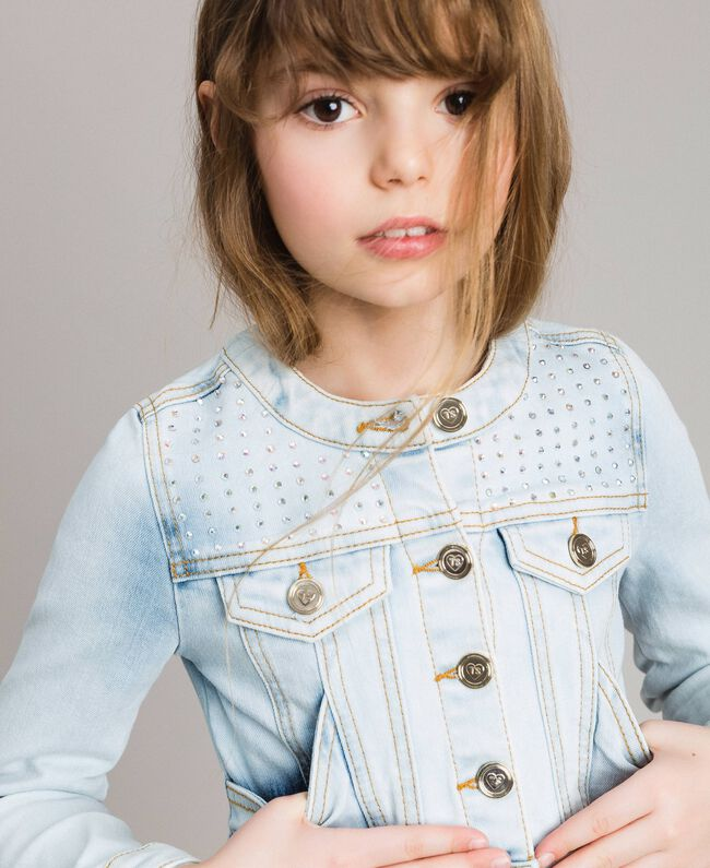 Denim jacket with rhinestones Bleach Denim Child 191GJ2471-04