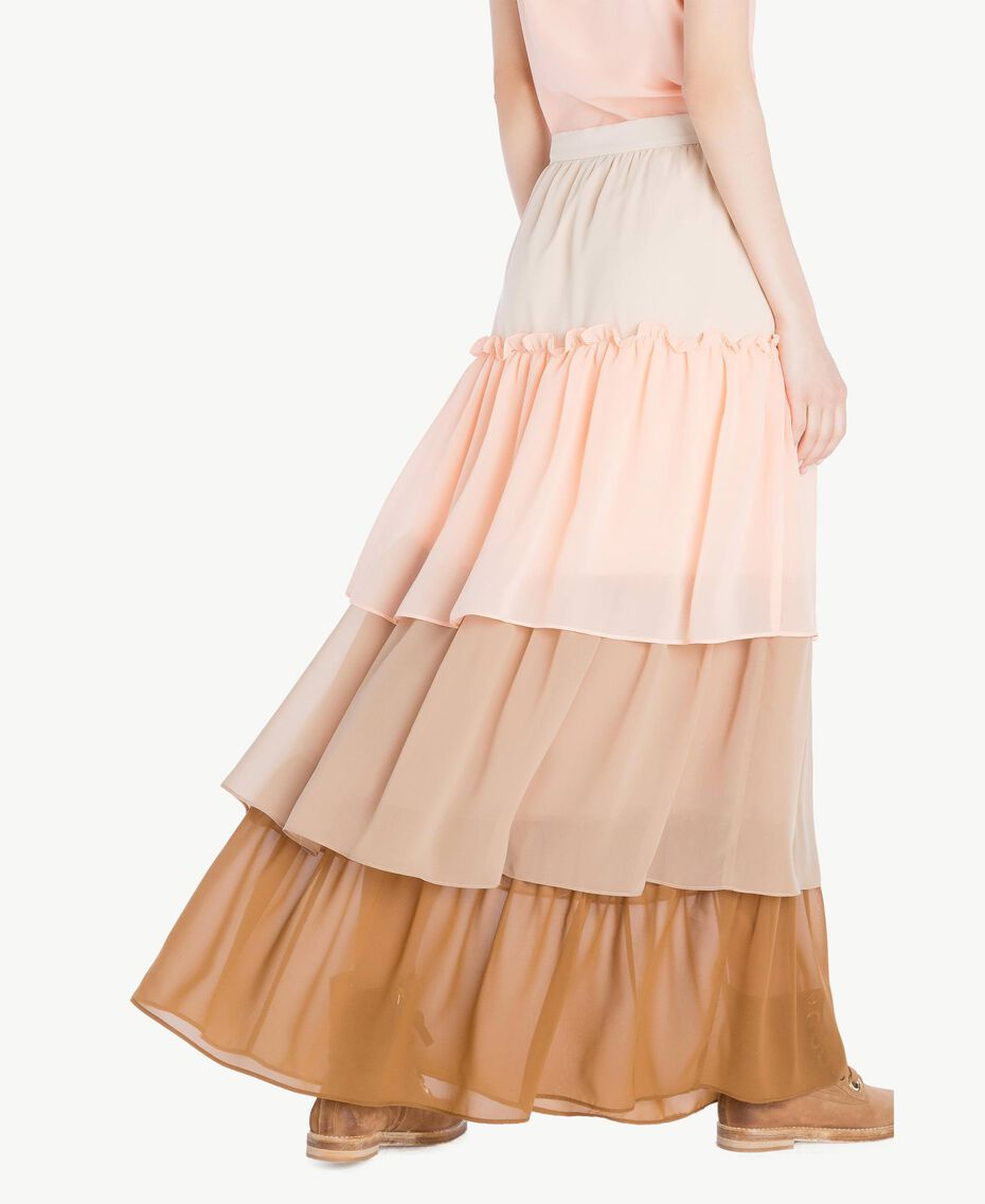 "Long flounce skirt Multicolour ""Rope"" Beige Woman SS82DE-03"