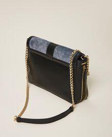 """Grand sac à bandoulière Rebel en cuir lisse et cuir velours Multicolore Bleu Ciel Cendre / Vert """"Vert Olive"""" Femme 202TB7052-04"""