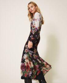 Длинное платье из жоржета с цветочным рисунком Принт Деграде Цветы Черный / Слоновая кость женщина 202TT2380-03