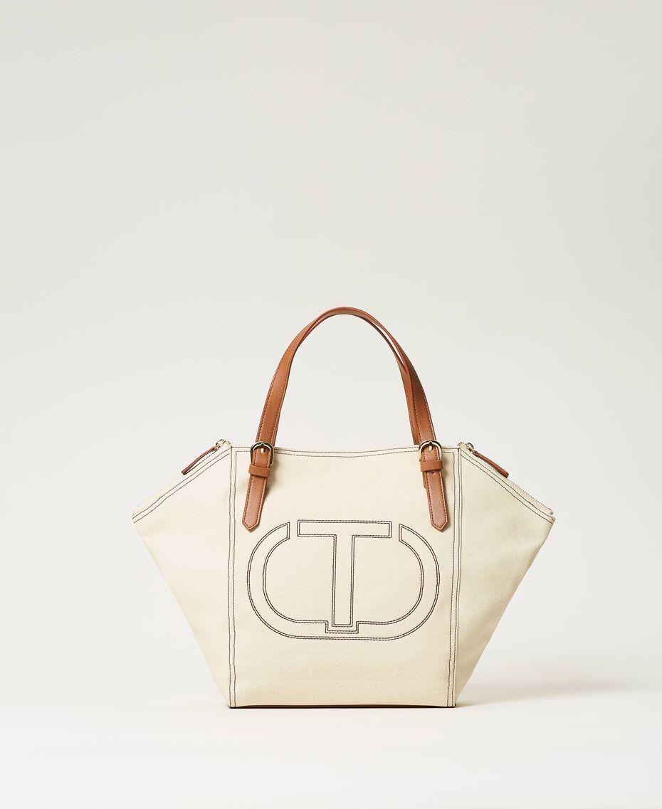 Canvas shopper with logo Light Denim Woman 211TD8180-02
