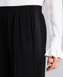 Pantalon palazzo en envers satin Noir Femme TA824A-04