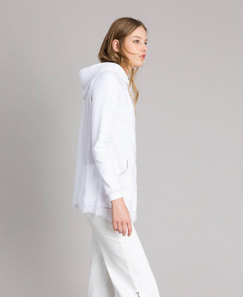 Sweat-shirt avec capuche et dentelle Crème White Femme 191MP2323-02
