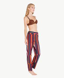 """Printed trousers Tobacco Stripe / """"Love Bites"""" Fuchsia IA7RCC-03"""