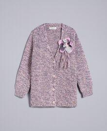 Maxi cardigan in mouliné yarn Multicolour Jacquard Child GA83EN-01