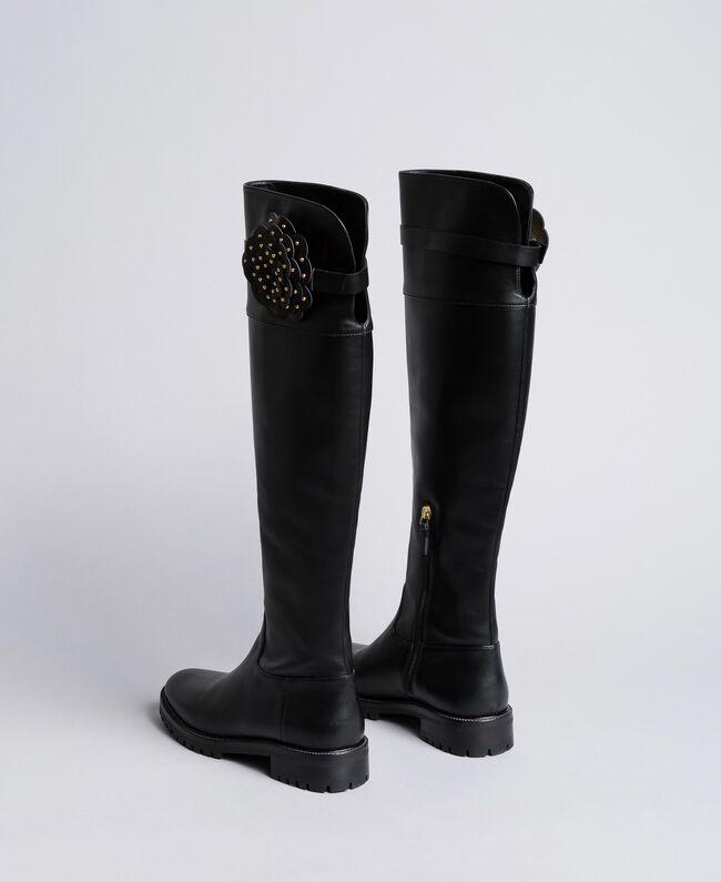 Bottes cuissardes en cuir avec fleur Noir Femme CA8PNC-03