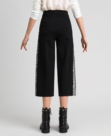 "Wide leg trousers with Lace Bicolour Black / ""Snow"" White Woman 192TP2097-04"
