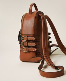 Faux leather backpack with straps Leather Brown Woman 202MA7042-04