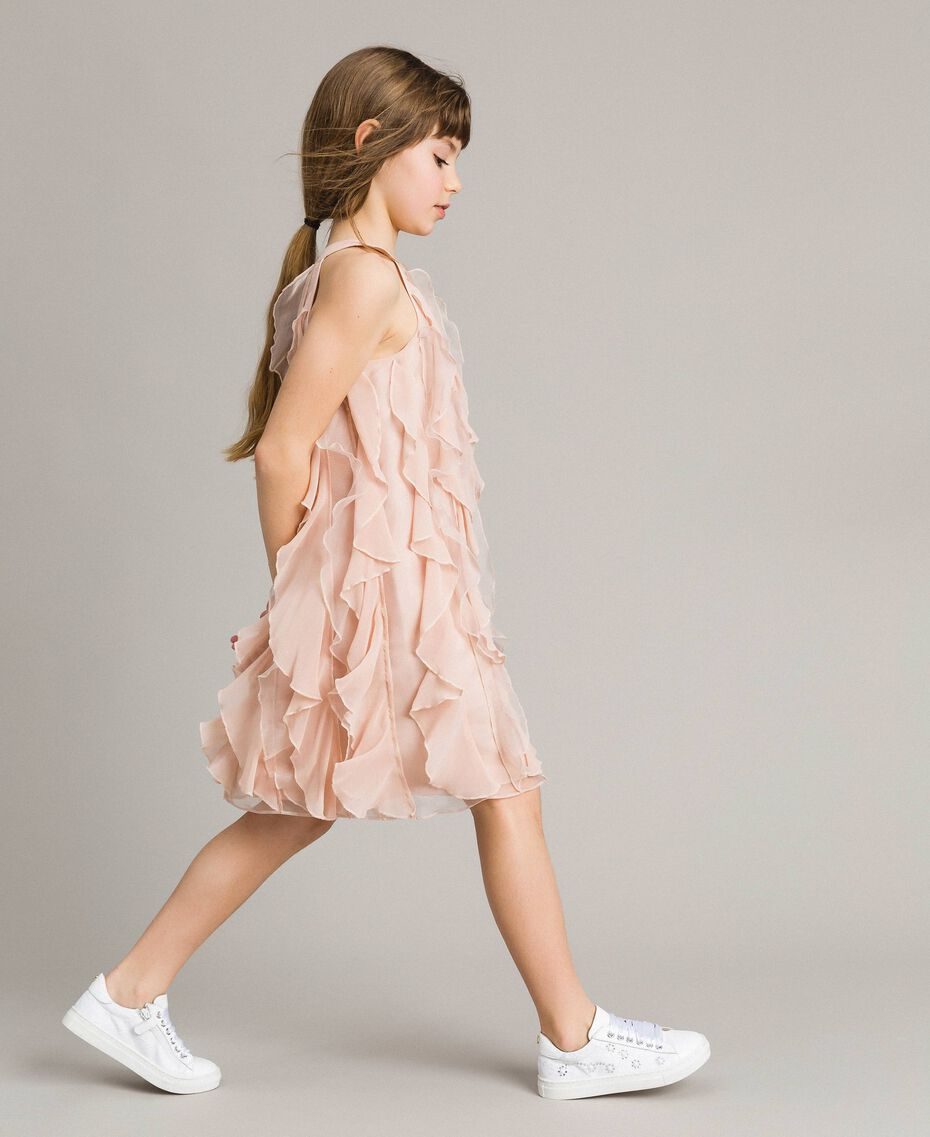 Georgette and organza ruched dress Blossom Pink Child 191GJ2QD1-02