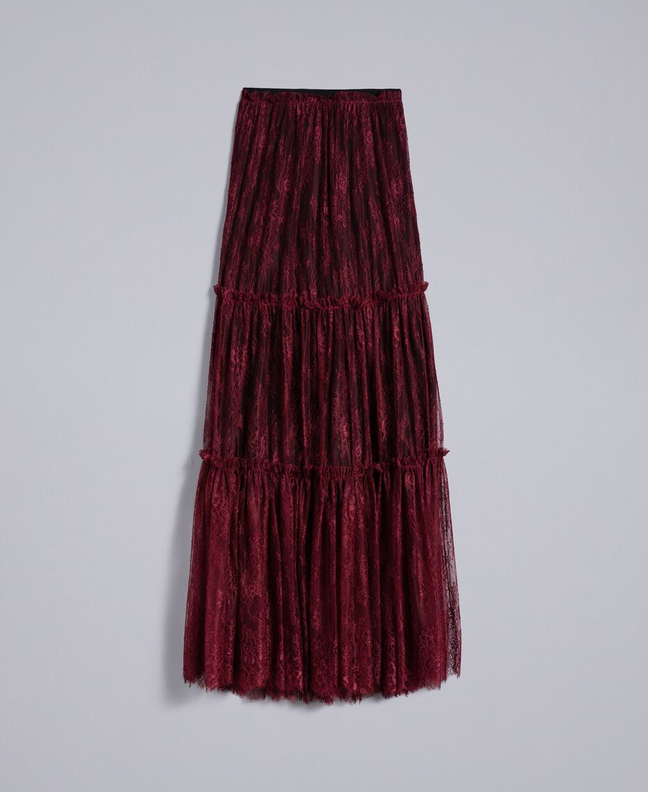 Gonna lunga in pizzo Valencienne Bordeaux Donna PA82FZ-0S