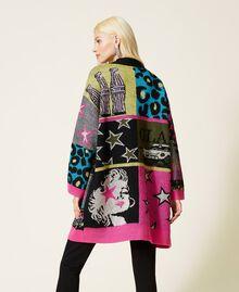Jacquard wool blend cardigan Purple Berry Picture Jacquard Mix Woman 212AP3132-03