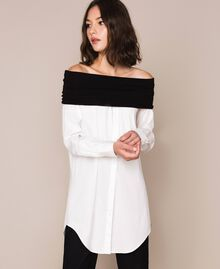 Soft collar poplin shirt Two-tone Lily / Black Woman 201MP218F-05