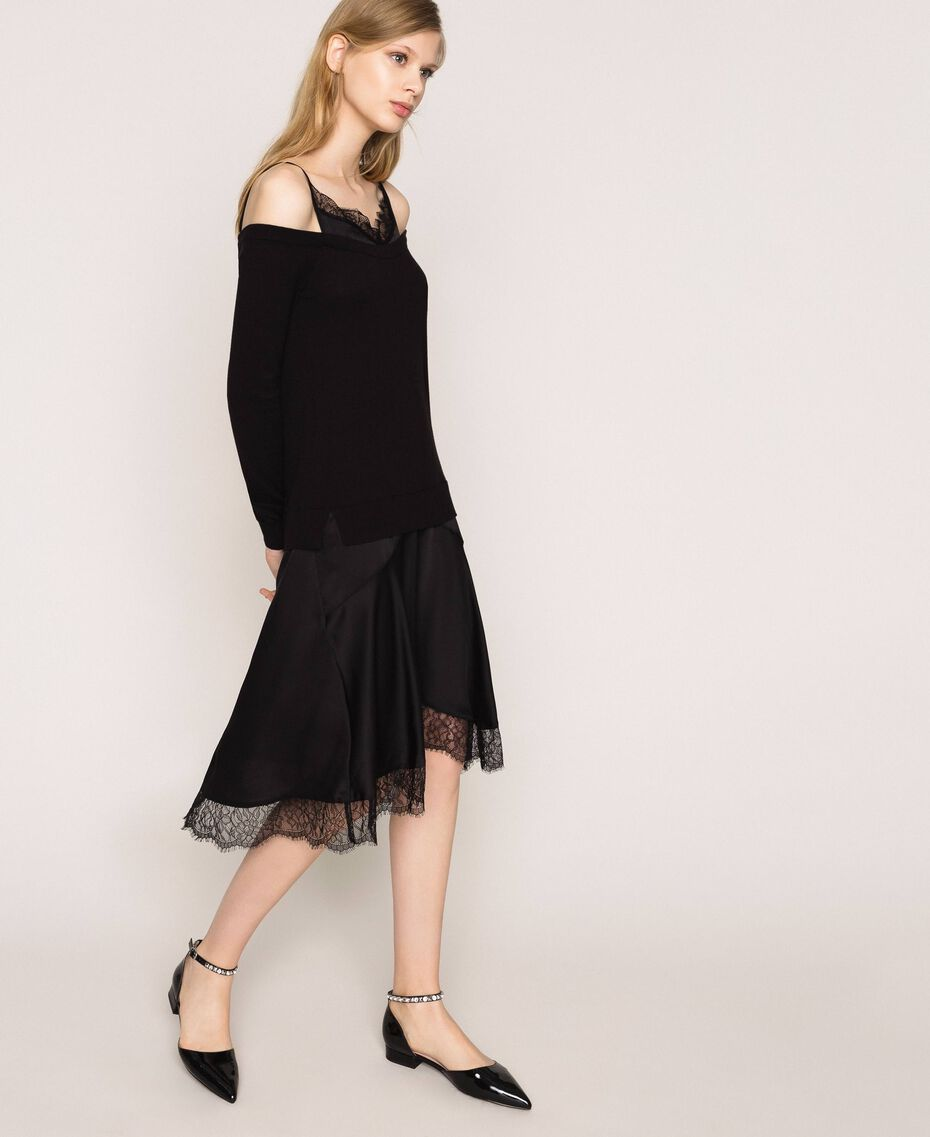 Knit dress with slip effect satin Black Woman 201TP3070-02