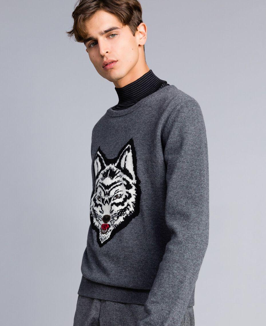 Pullover aus Wollmischung Durchschnittgrau-Mélange Mann UA83H1-02