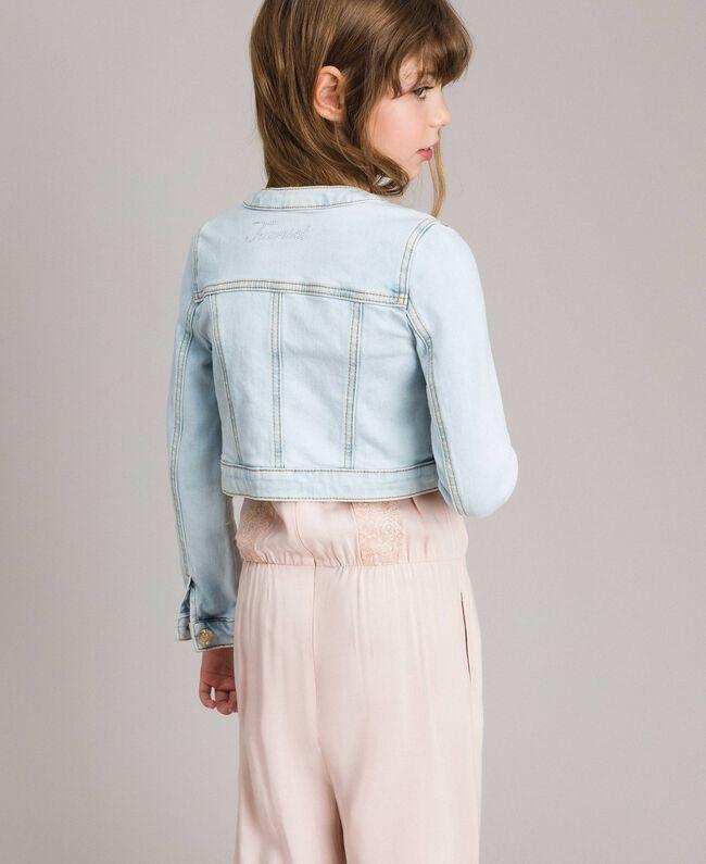 Denim jacket with rhinestones Bleach Denim Child 191GJ2471-03