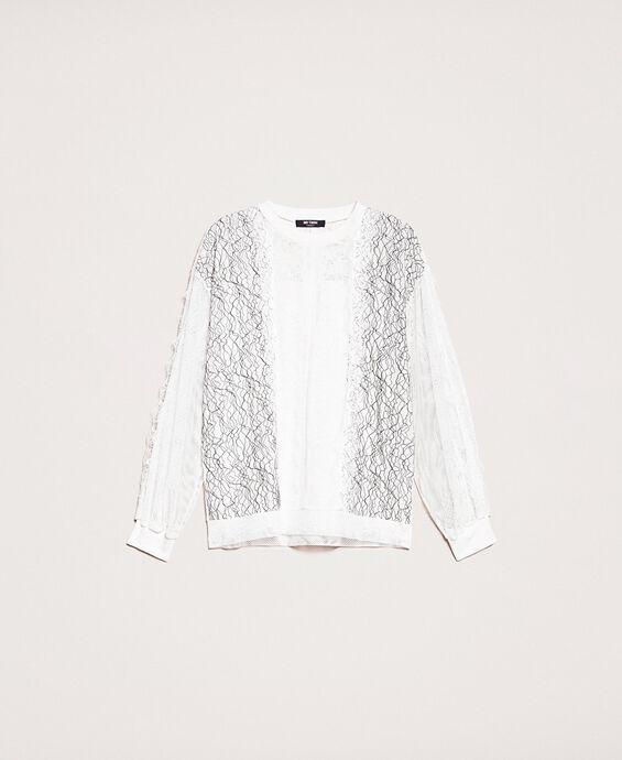 Sweatshirt mit einem Mix aus Spitze und Netzstoff