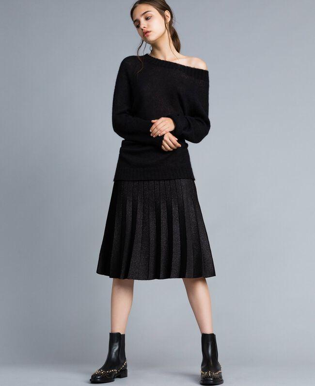 Jupe mi-longue en maille plissée lurex Noir Lurex Femme PA83CD-01