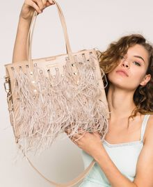 Faux leather shopper with rhinestones and feathers Beige Cremino Woman 201TA7190-0S