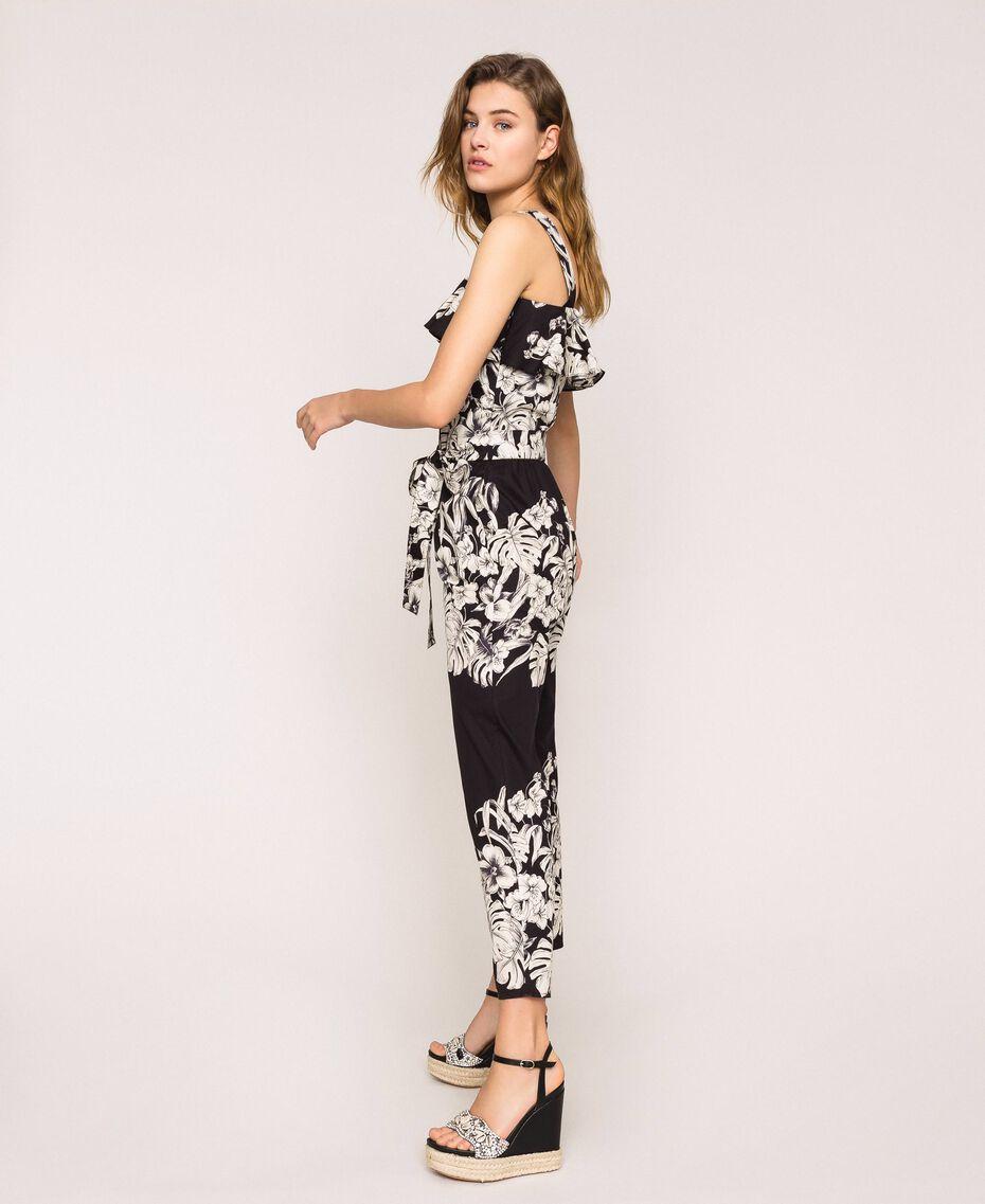 Poplin floral jumpsuit Black Graphical Flower Print Woman 201TT2314-02