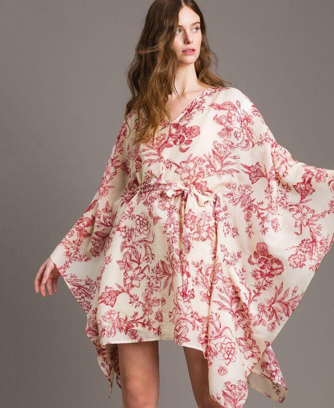Kimonokleid aus Seidenmischung Motiv Toile De Jouy Rot Frau 191TT2406-01