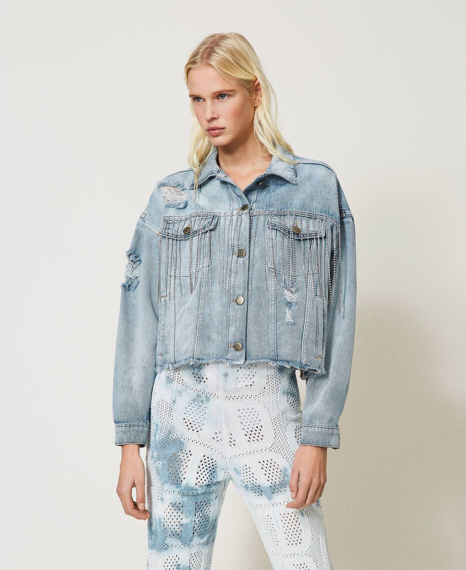 Denim jacket with bezel fringes Denim Woman 211TT2380-01