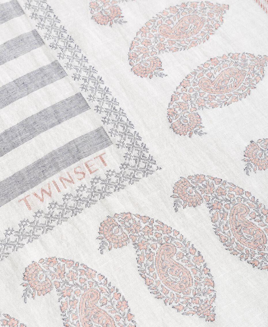 Keffieh en coton et lin Jacquard Noir / Blanc Neige Femme 191TO5301-02