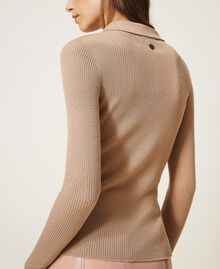 "Ribbed wool jumper ""Pastel Skin"" Beige Woman 202TT3080-03"