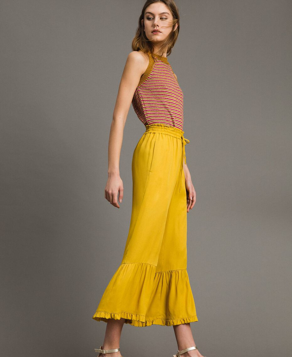 """Silk blend trousers with ruches """"Honey Gold"""" Woman 191TT2073-02"""