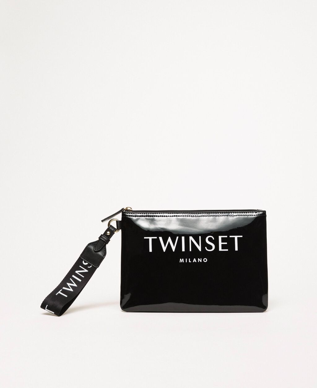 Patent leather effect faux leather pochette