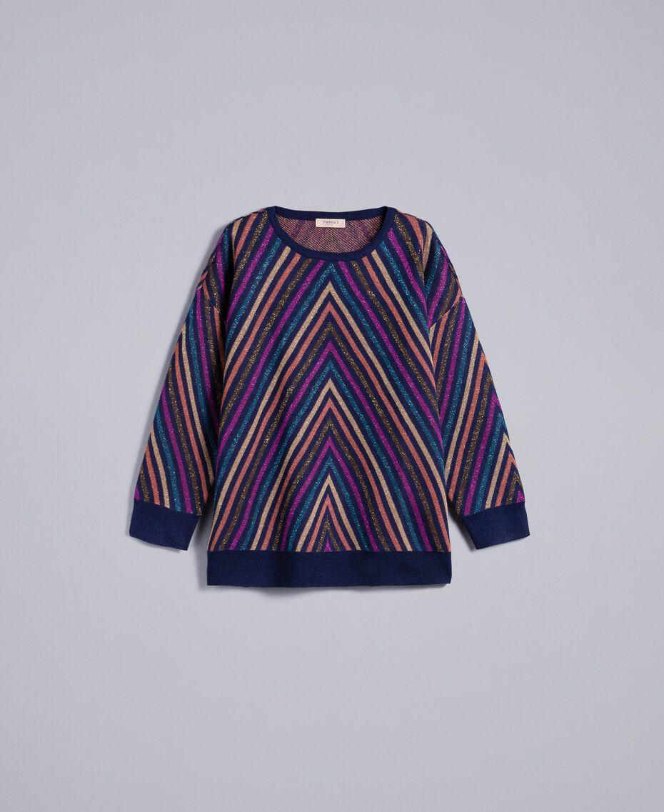 Pullover aus Lurexjacquard mit mehrfarbigem Streifenmuster Jacquard Blau / Lurexstreifen Frau TA838H-0S