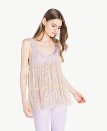 Lace top Two-tone Ecru / Violet Woman PS821E-01