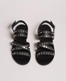 Sandales en cuir ornées de clous Noir Femme 191TCP04G-02
