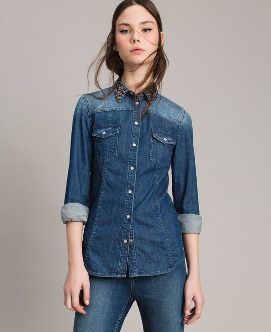 Camicia in denim con ricamo