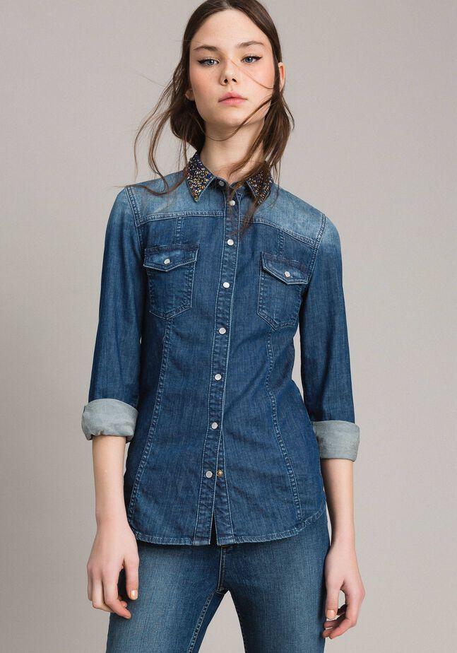 Denim embroidered shirt