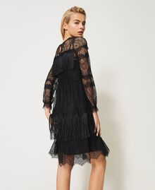 Tulle dress with lace and fringes Black Woman 202TP2374-04