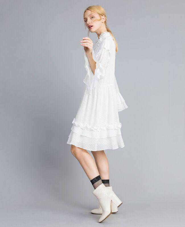 Kleid aus Fil Coupé Perlmutt Frau SA82GA-01