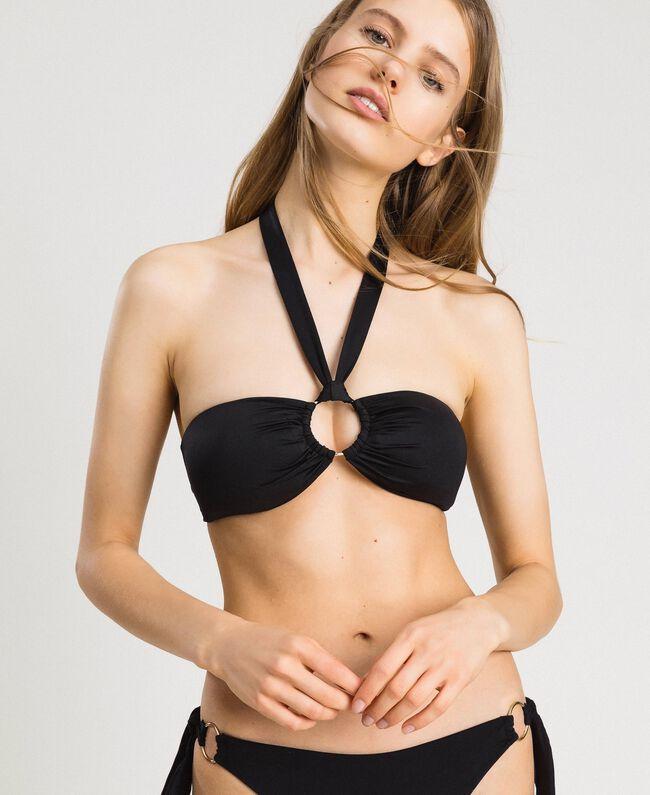 Bandeau-Bikinitop mit Zierring Schwarz Frau 191LBM211-04