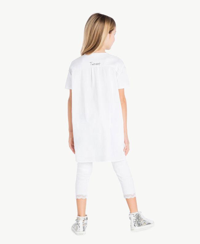 "Maxi t-shirt imprimé Blanc ""Papers"" Enfant GS821N-04"
