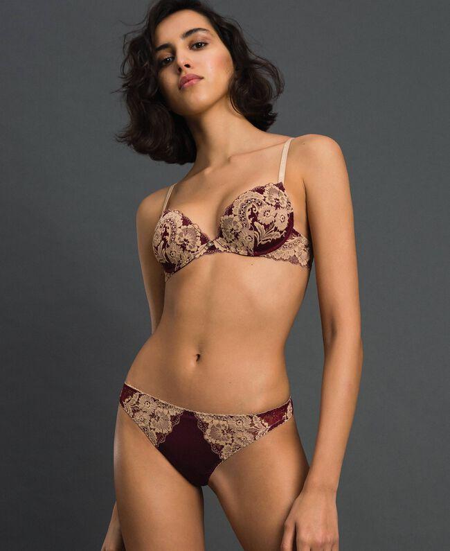 String avec dentelle bicolore Rouge Violet / Beige Foncé Femme 192LL6D88-01