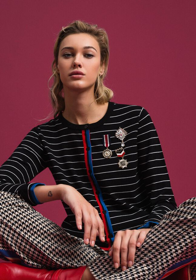 Striped cardigan with army style brooches